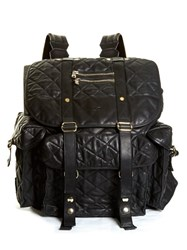 Balmain Diamond Quilted Leather Backpack Black