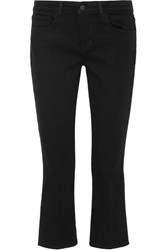 L'agence Charlotte Cropped Mid Rise Straight Leg Jeans Black