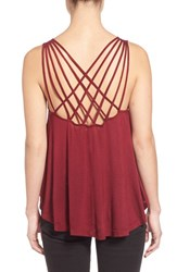 Junior Women's Sun And Shadow Cross Back Knit Tank Red Jelly