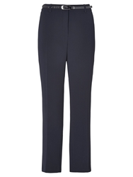 Viyella Textured Crepe Long Trousers Navy