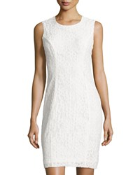 Milly Floral Lace Sleeveless Sheath Dress White Wht