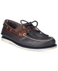 Timberland Men's Classic 2 Eye Boat Shoes Men's Shoes Blue