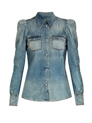 Roberto Cavalli Point Collar Denim Blouse