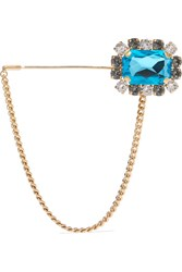 Dolce And Gabbana Gold Tone Crystal Brooch Blue