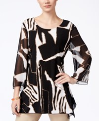 Jm Collection Printed Three Quarter Sleeve Tunic Only At Macy's Safari Block