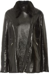 Mcq By Alexander Mcqueen Coated Leather And Shearling Jacket Black
