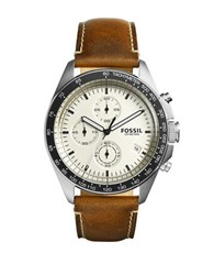 Fossil Stainless Steel Leather Strap Watch Brown