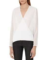 Reiss Faithful Faux Wrap Blouse Off White