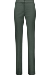 Oscar De La Renta Wool Blend Slim Leg Pants Emerald