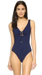 Karla Colletto Lace Up V Neck Swimsuit Navy