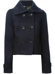 Y 3 Double Breasted Oversized Collar Cardigan Blue