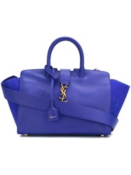 Saint Laurent Baby 'Cabas Monogram' Tote Blue