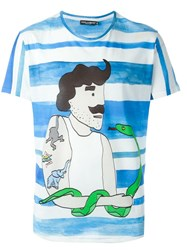 Dolce And Gabbana Sailor Print T Shirt Blue