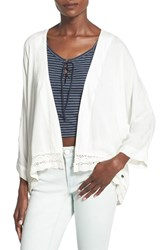 Women's Roxy 'Life Pursuit' Crochet Accent Open Cardigan Sand Piper