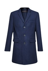 French Connection Melton Overcoat Marine
