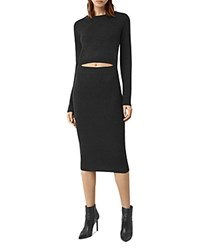 Allsaints Merino Wool Reversible Ola Dress Cinder Black Marl
