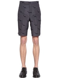Thom Browne Dogs Wool Jacquard Bermuda Shorts