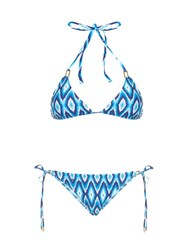 Melissa Odabash Cancun Triangle Bikini Blue Multi