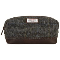 John Lewis Harris Tweed Wash Bag Brown