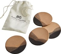 Cb2 Set Of 4 Jig Charcoal Dipped Leather Coasters