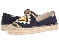 Soludos Embroidered Platform Smoking Slipper Navy Canvas Women's Slip On Shoes Blue