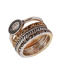 Lucky Brand Metallic And Semi Precious Rock Crystal Ring Set 4 Two Tone