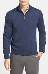 John W. Nordstrom Regular Fit Quarter Zip Merino Wool Pullover Navy Blue