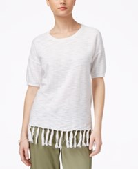 G.H. Bass And Co. Fringed Elbow Sleeve Sweater White
