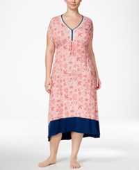 Ellen Tracy Plus Size Printed High Low Caftan Coral Paisley