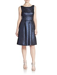 Kay Unger Metallic Fit And Flare Dress Navy