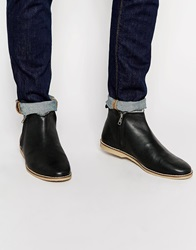 Asos Zip Boots In Black Leather With Faux Shearling Lining