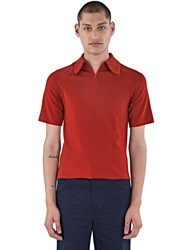 Wales Bonner Abdre Zipped Polo Shirt Brown