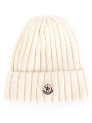 Moncler Ribbed Knit Beanie Nude And Neutrals