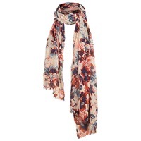 Fat Face Abstract Floral Print Scarf Pink Multi