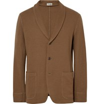 Camoshita Brown Slim Fit Unstructured Wool Blazer Tan
