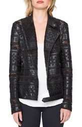 Willow And Clay Women's Eyelet Faux Leather Jacket