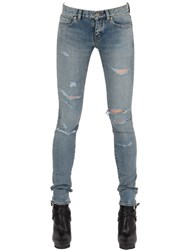 Saint Laurent Destroyed Stretch Cotton Denim Jeans