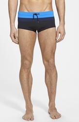 Parke And Ronen 'Corcovado' Square Cut Swim Briefs Royal Navy Black