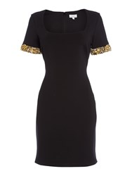 Untold Scoop Neck Dress With Embellished Cuff Black