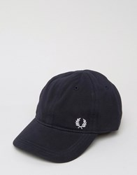 Fred Perry Pique Baseball Cap With Logo Navy
