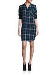 Rails Roll Up Sleeve Plaid Shirtdress Forest Navy White