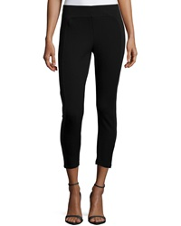 Neiman Marcus Textured Side Cropped Leggings Black