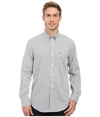 Nautica Long Sleeve Wrinkle Resistant Stripe Print Shirt Bayberry Blue Men's Long Sleeve Button Up