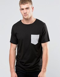 Another Influence Contrast Chest Pocket T Shirt Black