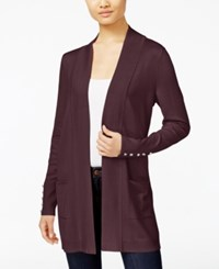 Jm Collection Open Front Cardigan Only At Macy's Maroon Dahlia