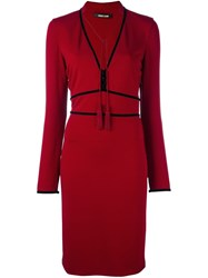 Roberto Cavalli Tassel Neck Fitted Dress Red