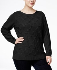 Karen Scott Plus Size Cable Knit Sweater Only At Macy's Deep Black