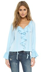 Nanette Lepore Party Pleats Top Icy Blue