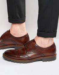 Base London Trench Leather Derby Brogue Shoes Brown