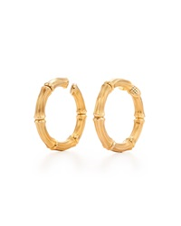 Fred Leighton Gold Bamboo Hoop Clip Earrings Signed Cartier